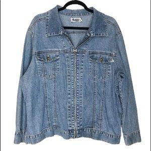 Plugg Zip Front Women's Jean Jacket Size 1X